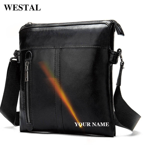 WESTAL Men's Leather Bag Male Genuine Leather Black Messenger - Beltran's Enterprise