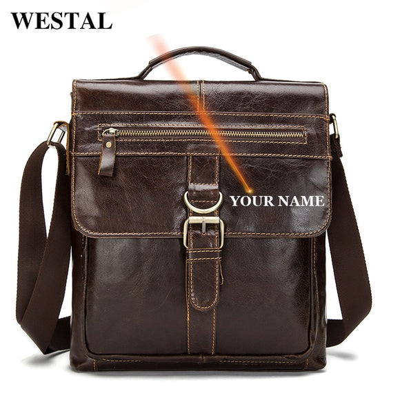 WESTAL Big Crossbody Bags for Men Genuine Leather Bag Hasp - Beltran's Enterprise