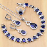 Blue Zircon White Crystal 925 Sterling Silver Jewelry Sets - Beltran's Enterprise