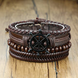 Vnox 4pcs/Set Leather Bracelets Set for Men Women Bohemia - Beltran's Enterprise
