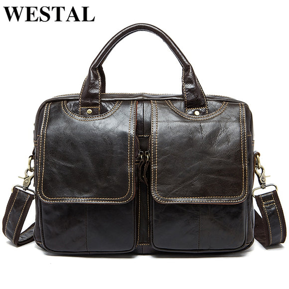 WESTAL Men's Briefcase Bag Men's Genuine Leather Laptop Bag Leather Messenger Mens Leather - Beltran's Enterprise