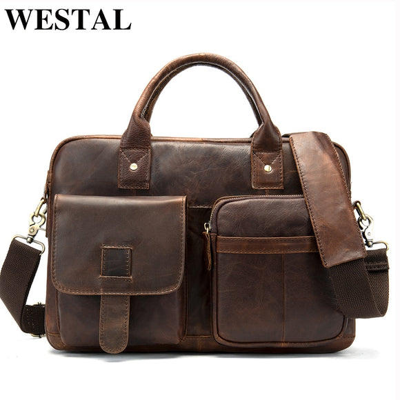WESTAL men's briefcase men's bag genuine leather laptop bag - Beltran's Enterprise