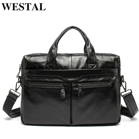 WESTAL Men Briefcases Men's Leather Bags Man Genuine - Beltran's Enterprise