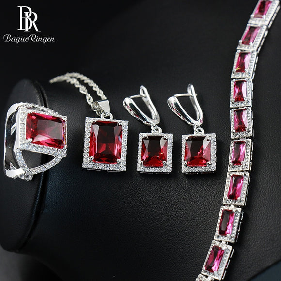 Bague Ringen Rectangle Silver 925 Women's Wear Jewelry Sets Ruby - Beltran's Enterprise
