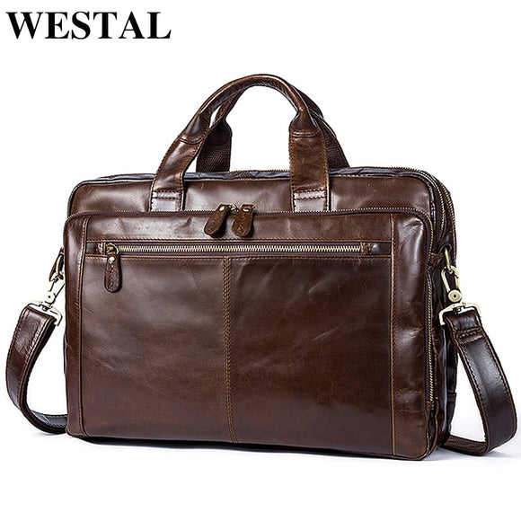 WESTAL Men's Briefcase Men's Leather Bag Men Genuine Leather - Beltran's Enterprise