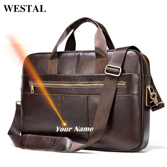 WESTAL laser engrave men's leather bag men's briefcase - Beltran's Enterprise