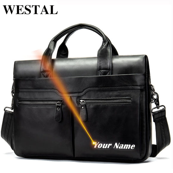 WESTAL Laser engrave men's leather handbag men's bag - Beltran's Enterprise