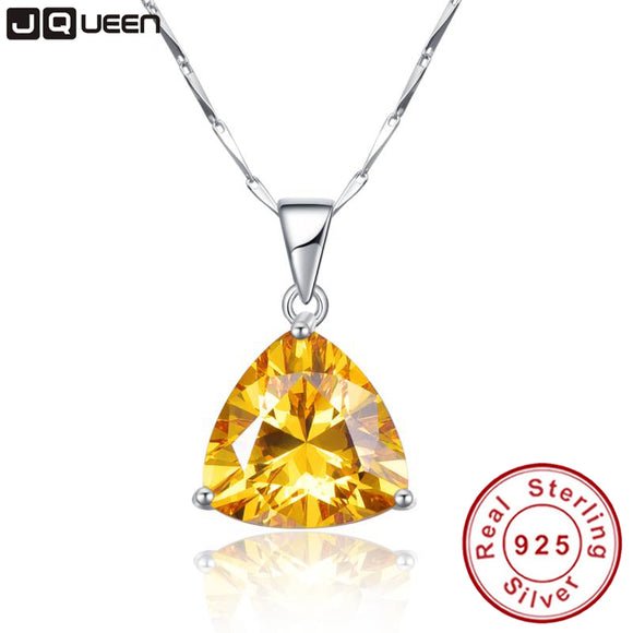 9.35Ct citrine pendant necklace 925 sterling silver chain Geometric Triangle Necklaces&Pendants Jewelry - Beltran's Enterprise