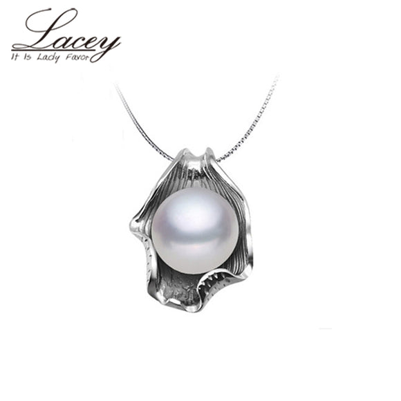 Fashion natural pearl pendant 925 sterling siver 45cm women,cultured freshwater pearl - Beltran's Enterprise