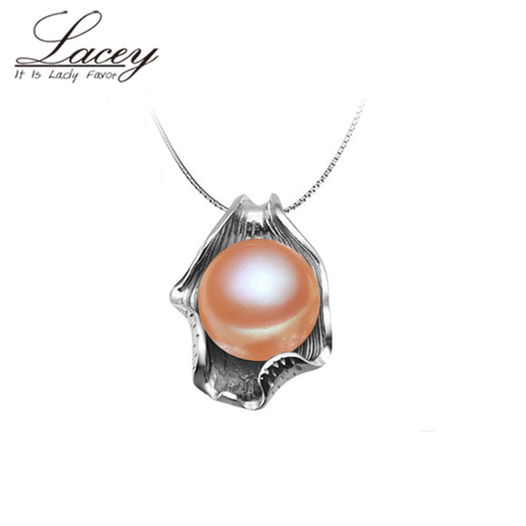 Popular natural pearl pendant 925 sterling siver 45cm for women,freshwater pearl pendant - Beltran's Enterprise