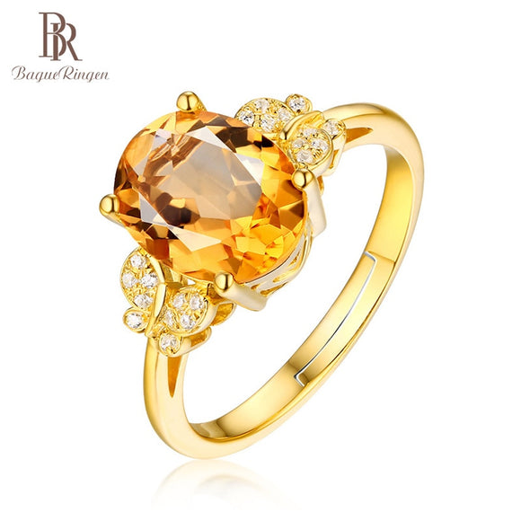 Bague Classic Oval Citrine Rose Gold Rings For Women - Beltran's Enterprise