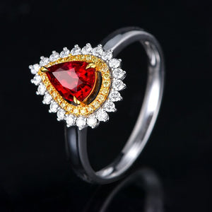 Bague Ringen Trendy Silver 925 Jewelry Gemstones Ring for Women Water Drop Shaped Ruby Resizable Size6-10 Female Engagement Ring - Beltran's Enterprise