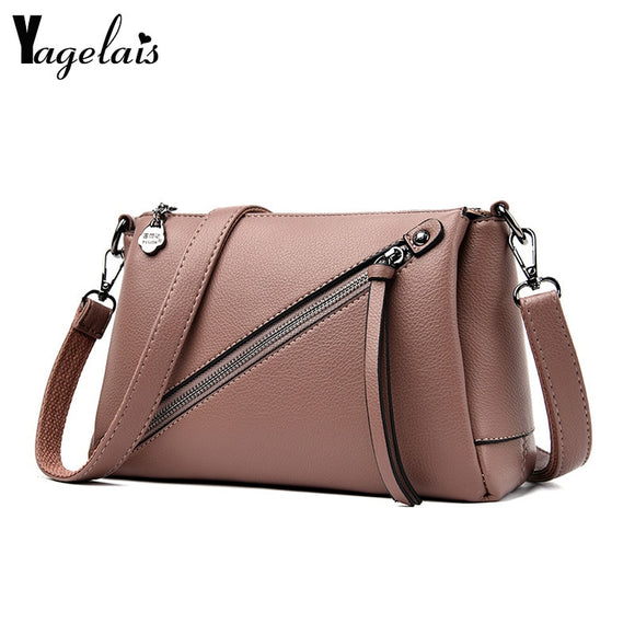 Diagonal Zipper Fashion Women Messenger Bag Washed PU - Beltran's Enterprise