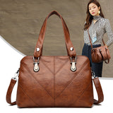 Women Fashion Handbag Luxury Shoulder Bag PU Leather Lattice - Beltran's Enterprise