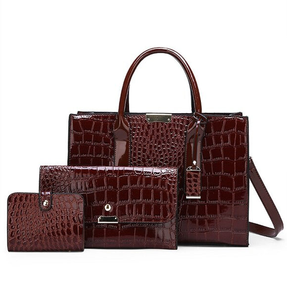Women Crocodile Pattern Handbag Elegant Leather Composite Bag - Beltran's Enterprise