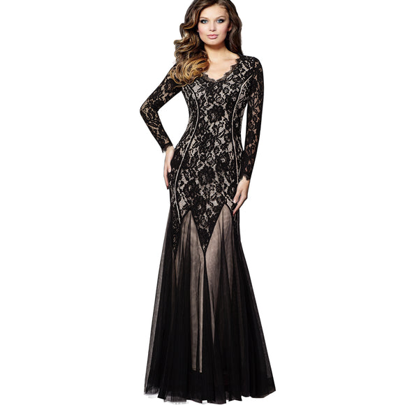 Women Vintage Patchwork Sheer Floral Lace Overlays With Mesh Details Classic Gorgeous Swing Long Maxi Evening Party Dress EA020 - Beltran's Enterprise