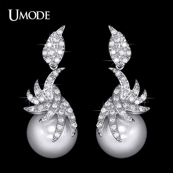 UMODE Synthetic Pearl Drop Earrings with Micro Cubic Zirconia Elegant Blooming Flower Design Jewelry for Wedding UE0148 - Beltran's Enterprise