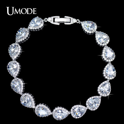 UMODE Pear cut Pure Clear Color Cubic Zirconia Connected Jewelry Bracelet UB0029 - Beltran's Enterprise