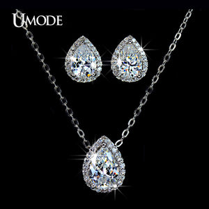 UMODE Water Drop Design Pear cut Top Quality Cubic Zircon Necklace and Earrings Jewellery Set - Beltran's Enterprise