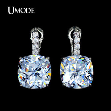 UMODE Classic Design 11mm 4 carat Cushion cut Big CZ Women Earrings UE0085 - Beltran's Enterprise