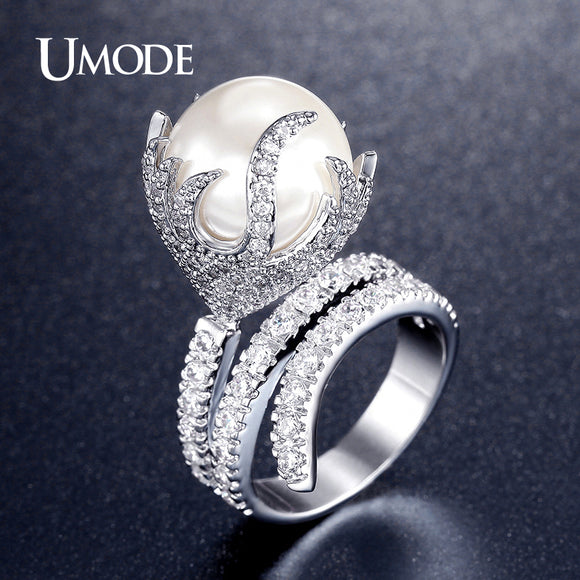 UMODE Ultra Big Synthetic Pearl Jewelry Fire Shaped Zirconia Rhodium Plated Micro Paved Rings - Beltran's Enterprise