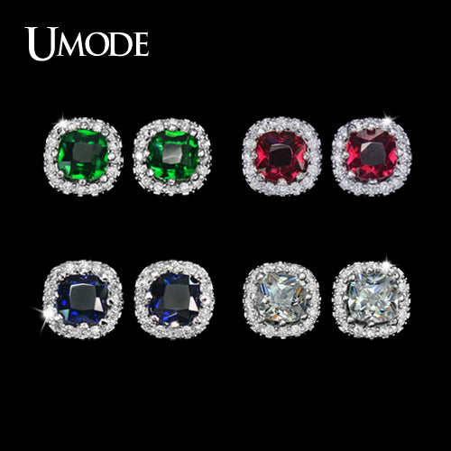 UMODE Four Color Crystal Options Summer Gift Party Cute Square Stone Post Stud Earrings For Women UE0071 - Beltran's Enterprise