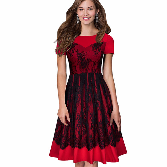 Women Elegant Floral Lace Party Dress Vintage Swing Pinup Short Sleeve Summer A-line Dress A022 - Beltran's Enterprise