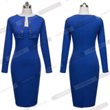 Autumn Winter Women Business Casual Sliming Pencil Dresses Elegant Long Sleeve Office Ladies Wear - Beltran's Enterprise