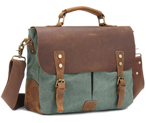 Vintage Crossbody Bag Military Canvas + Leather Shoulder Bags Men Messenger Bag - Beltran's Enterprise