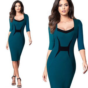 Autumn Elegant Professional Women ColorBlock Contrasting Casual Wear To Work Business Fitted Sheath Bodycon Pencil Dress EB345 - Beltran's Enterprise