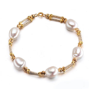 Baroque natural freshwater pearl bracelet for women,white real pearl bracelet - Beltran's Enterprise