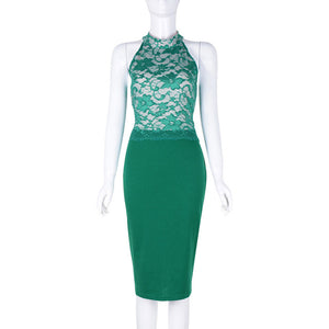 Bella Philosophy spring sexy slim patchwork package hip O-Neck sleeveless pencil green lace bodycon dress - Beltran's Enterprise