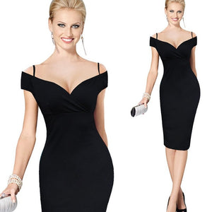 Sexy Women Low Cut Adjustable Spaghetti Strap Club Wear Elegant Charming Bodycon Party Dress EB309 - Beltran's Enterprise