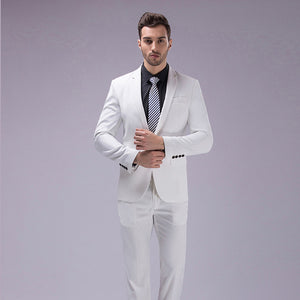OSCN7 12 Color 2pcs Slim Fit Suits Men Notch Lapel Business Wedding Groom Leisure Tuxedo 2017 - Beltran's Enterprise