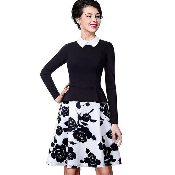 Nice-forever Retro Elegant Flower Print Zipper Turn-down Collar Women Long Sleeve - Beltran's Enterprise