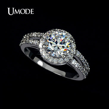 UMODE Wedding Rings White Gold Color Jewelry For Women 2 Carat AAA+ Cubic Zirconia 2 Bands Vintage - Beltran's Enterprise