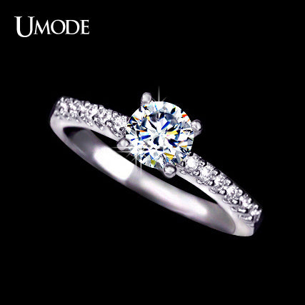 UMODE White Gold Color Pave Band Engagement Ring for Women with 0.6cm 0.75ct  Cubic Zirconia Brand - Beltran's Enterprise