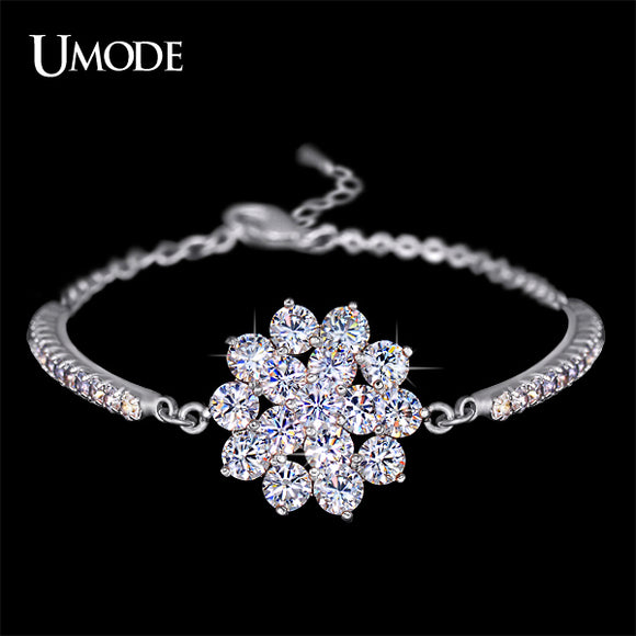 UMODE Rhinestones Cup Chain and 16 Pcs Glittering Cubic Zirconia Flower Bracelet White Gold Color Jewelry for Women UB0040B - Beltran's Enterprise