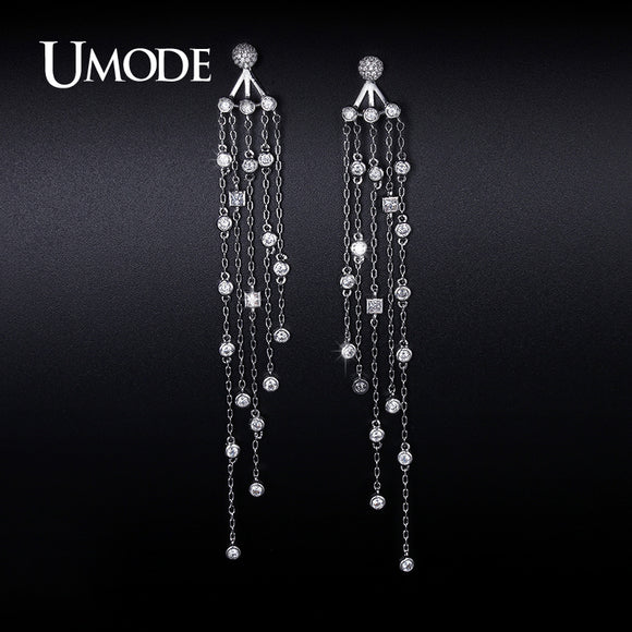 1992cdd455b UMODE Top Quality White Gold Color Crystal Zircon Drop Earrings Big  Statement Earring Hot Long Jecket