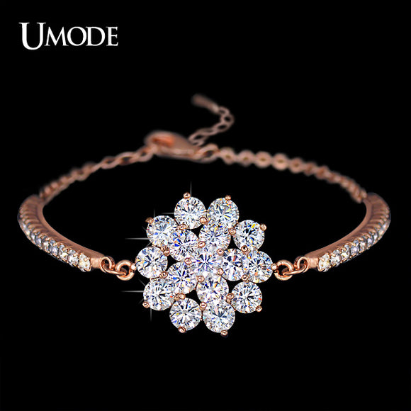 UMODE Rhinestones Cup Chain and 16 Pcs Glittering Cubic Zirconia Flower Bracelet Rose Gold Color Jewelry for Women UB0040A - Beltran's Enterprise