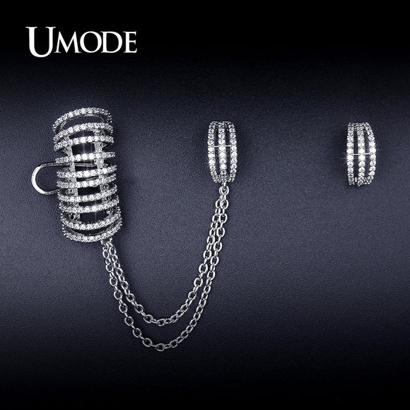 UMODE Unique Mismatch Earrings Ear Cuff  Chain Stud Earrings For Women CZ White Gold Color Christmas Gifts Jewelry Brinco UE0243 - Beltran's Enterprise