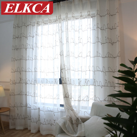 Korean Birds Embroidered Tulle Curtains for the Bedroom Faux Linen Sheer Curtains - Beltran's Enterprise