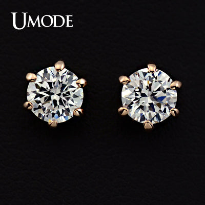 UMODE Rose Gold color 6 Prongs Sparkling 0.5ct Cubic Zirconia Cubic Zirconia Post CZ Stud Earrings JE0137A - Beltran's Enterprise