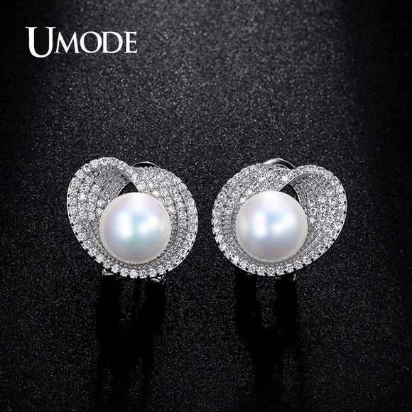 8b7a23505be UMODE 10mm Simulated Pearl CZ Cubic Zirconia White Gold Color French Clip Stud  Earrings for Women