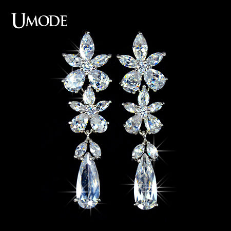 UMODE For Party and Wedding Flower Pure CZ Cubic Zirconia Dangling Earring UE0024 - Beltran's Enterprise