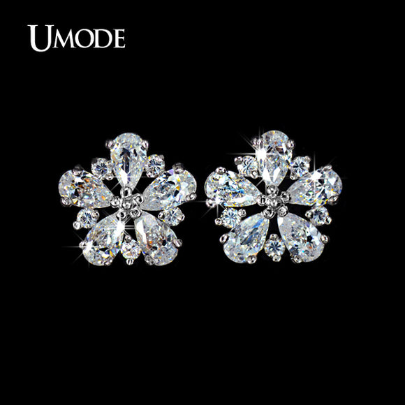 UMODE Top quality Pure AAA CZ Cubic Zirconia Stone May Flower Stud Earrings Birthday Gift Jewelry UE0028 - Beltran's Enterprise