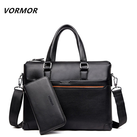 VORMOR 2 Set Handbag Men Messenger Bags PU Leather Man Bags Fashion Male Men's Briefcase - Beltran's Enterprise