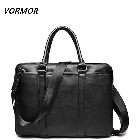 VORMOR Promotion Simple Famous Brand Business Men Briefcase Bag Luxury Leather Laptop Bag - Beltran's Enterprise