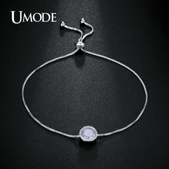 UMODE Rare 7mm Lavender Ice Cream simulated CZ Stone White Gold Color Simple Solitaire Chain Bracelets Gift for Women UB0086B - Beltran's Enterprise
