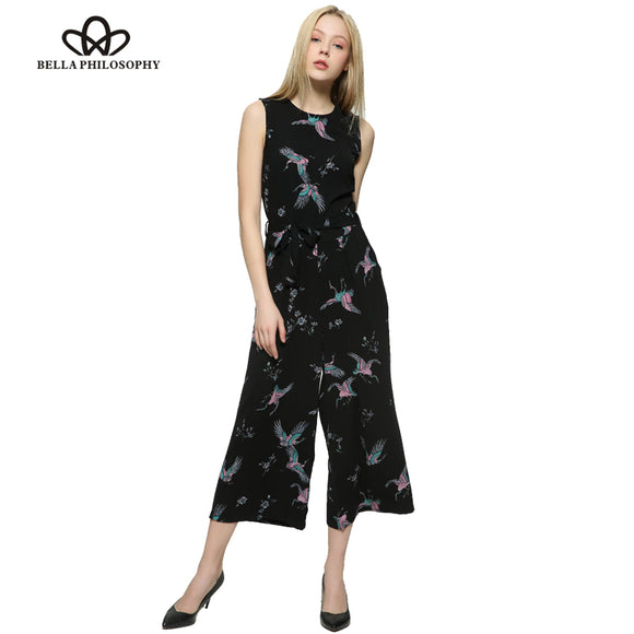 Bella Philosophy 2017 spring summer  bird print O-neck sleeveless belt sashes ankle-length jumpsuits bow waist - Beltran's Enterprise